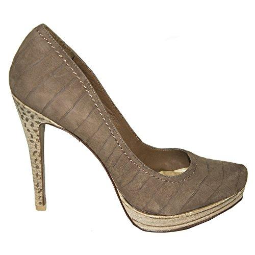 Zapatos De Mujer Schutz 40 Tacón De Cuero Beige Madera 12 Cm Meseta 2 Cm