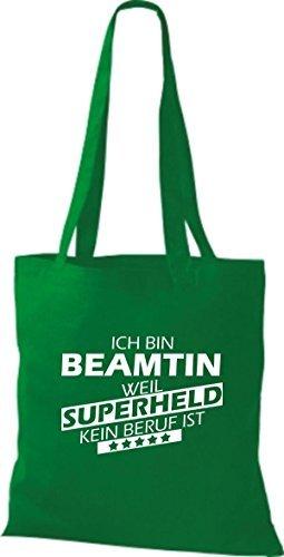 Shirtstown Bolso de tela Estoy Funcionario de la, weil Superheld sin Trabajo ist verde kelly