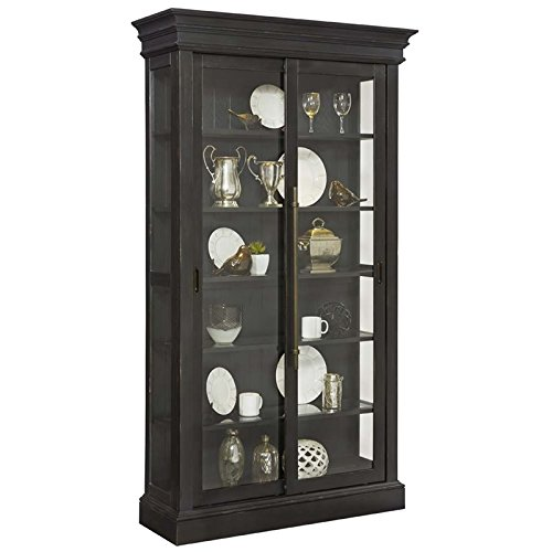 Pulaski Charcoal Sliding Bypass Door Curio Cabinet, Black by Pulaski