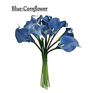 Angel Isabella 10pc Set Real Touch Calla Lily-Keepsake Artificial Flower Perfect for Cut to Make Boutonniere Corsage Bouquets (Corn Flower Blue)