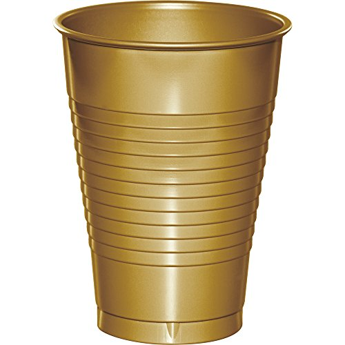 Creative Converting 224-Count Premium Plastic Cups, 12-Ounce, Glittering Gold