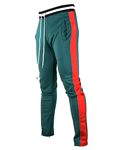 SCREENSHOTBRAND-S41700 Mens Hip Hop Premium Slim Fit Track Pants - Athletic Jogger Bottom with Side Taping-Green-Medium