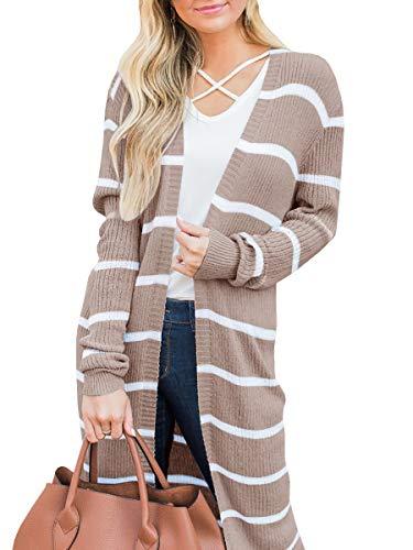 Lovaru Womens Long Cardigans Striped Fall Oversized Lightweight Open Front Sweater Tops (X-Large, Khaki) - Ribbed Cardigan Print