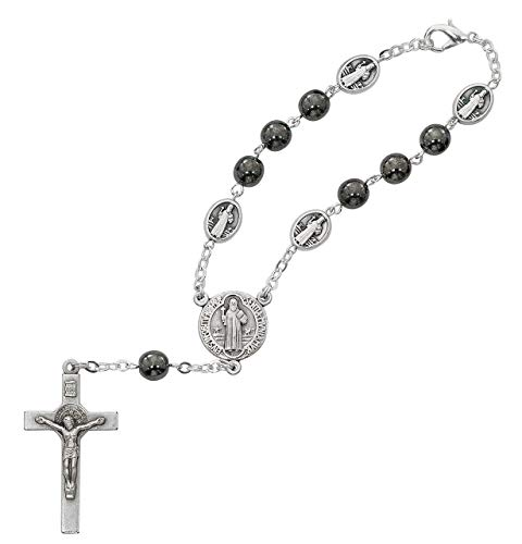(Hail Mary Gifts Hematite ST. Benedict AUTO RSR, 7MM Hematite Beads with Silver OX Crucifix and Center. Comes CARDED. Made in Italy.)
