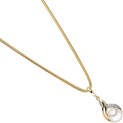 JOBO pendentif en or jaune 585 partiellement rhodié avec 1 perle 1 diamant brillant