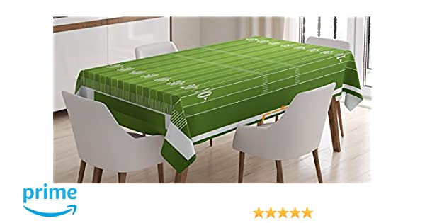 Amazon Com Ambesonne Football Tablecloth Sports Field In Green