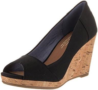 Toms Women's Stella Wedge Black Canvas Casual Shoe 11 Women US