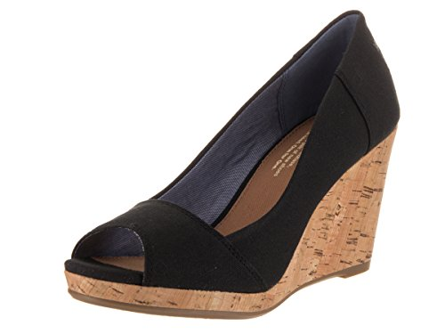 Toms Women's Stella Wedge Black Canvas Casual Shoe 6 Women US - Toms Canvas Wedge Shoes
