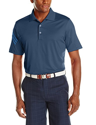 adidas Golf Men's Pure Motion Climacool 3-Stripes Sleeve Polo Shirt, Rich Blue/Bright Royal, - 3 Climacool Adidas Stripes