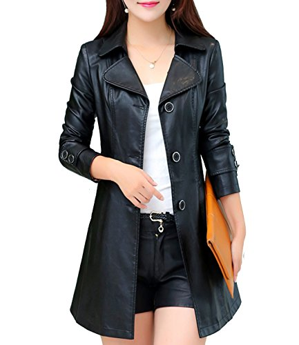 S&S-Women Elegant Classic Lapel Single Breasted Faux Leather Trench Coat (Design Ladies Leather Trench Coat)