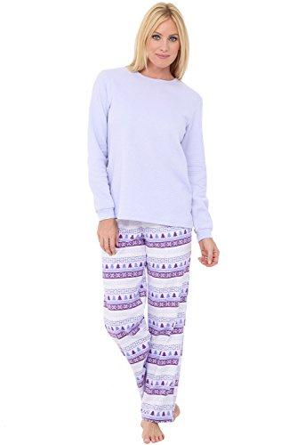 Alexander Del Rossa Womens Flannel Pajamas, Knit Top Cotton Pj Set, Small Nordic Lavender Christmas Trees (A0700Q62SM) (Pajamas Knit Lavender)