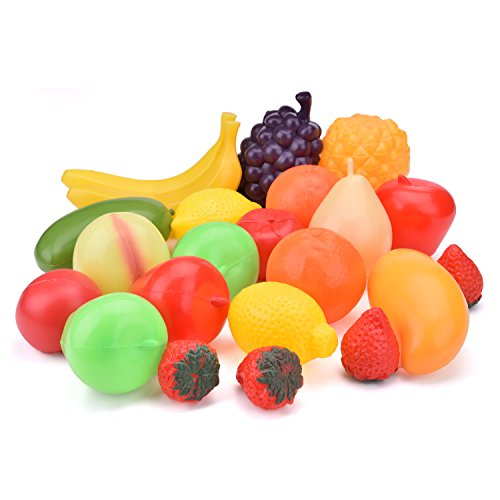 Fruit Plastic Toy Food - Fun Little Toys Play Food Set for Kids-Plastic Play Fruit Toy Play Kitchen Accessories for Toddlers 22 PCs