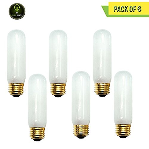 Frost Tubular Halogen Light Bulb - Perlite Lighting (Pack of 6) 40T10F/HO/130 40-Watt T10 Tubular Frost Medium E26 Base 130-Volt Light Bulb
