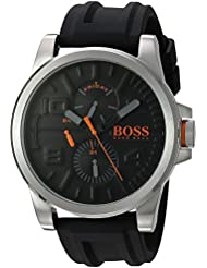 HUGO BOSS Mens DETROIT SPORT Quartz Stainless Steel and Silicone Casual Watch, Color:Black (Model: 1550006)