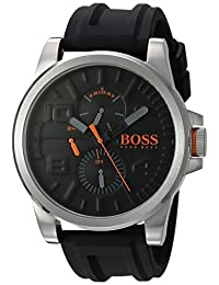 BOSS Orange Men's 'DETROIT SPORT' Quartz Stainless Steel and Silicone Casual Watch, Color:Black (Model: 1550006)