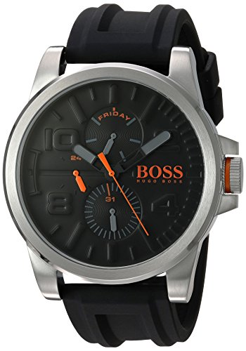 HUGO BOSS Men's 'DETROIT SPORT' Quartz Stainless Steel and Silicone Casual Watch, Color:Black (Model: 1550006)