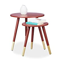 Relaxdays Round 2-Set of Side Tables, Wood, 3 Legs, HxD: 48 x 48 cm, Sofa Tables, Living Room, Matt Lacquered, Red