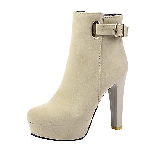 Charm Foot Womens Fashion Platform High Heel Ankle Booties Beige