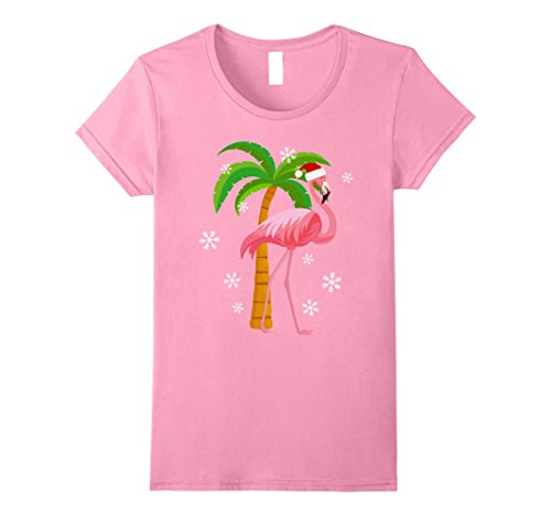 Womens Cute Pink Flamingo Santa Hat Christmas Holiday T-Shirt Large Pink (Pink Flamingo Santa)