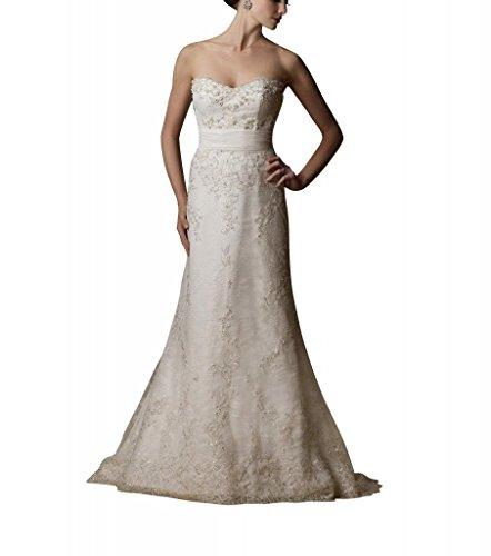 Gericht Spitze wulstige GEORGE Elfenbein ueber Hochzeitskleider Zug Elegante BRIDE Brautkleider Satin xFqwtY7w