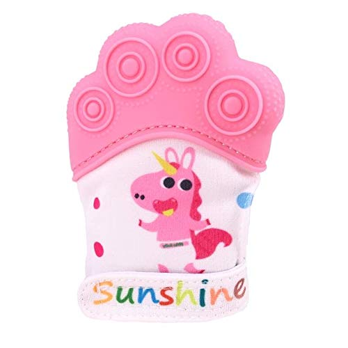 CB's Top Products Baby Teething Mittens Soothing Pain Relief Teether with Non-Scratch Fastener (Pink)