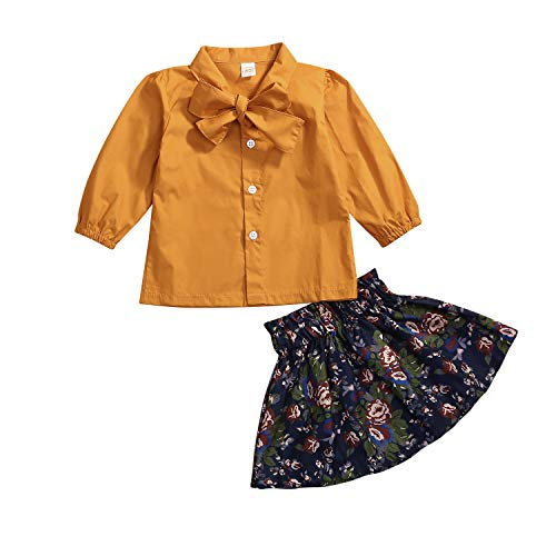 Newborn Infant Baby Girls Skirt Outfits Floral Dress Lace Ruffle Bowknot Shirt Casual Clothes Costumes (Orange, 18-24 Months)