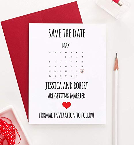 (Calender Save the Date, Save the Date Calender, Save the Date Wedding, Save the Date Wedding Invites, Save the Date Personalized, Your choice of Quantity and Envelope Color)