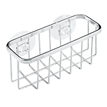 InterDesign Gia Kitchen Sink Suction Holder for Sponges, Scrubbers, Soap - Stainless Steel