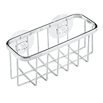 InterDesign Gia Suction Kitchen Sink Caddy, Sponge Holder for Kitchen Accessories - Polished