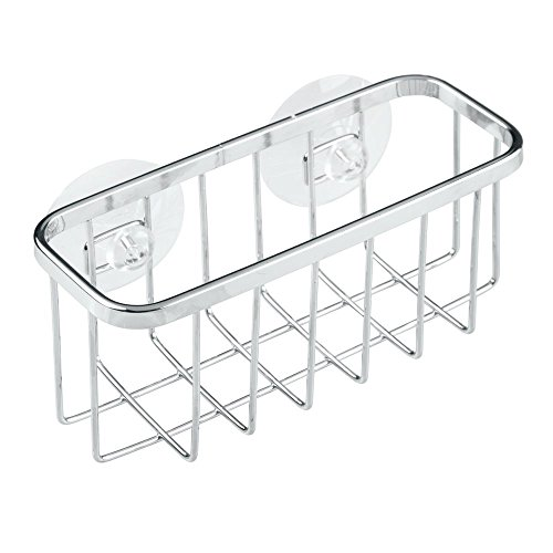 InterDesign Gia Kitchen Sink Suction Holder for Sponges, Scrubbers, Soap – Stainless Steel