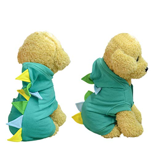 Neodot Pet Dog Cosplay Hoodies Dog Cotton Costume with Dinosaur Design Pet Clothes for Small Medium Large Dogs