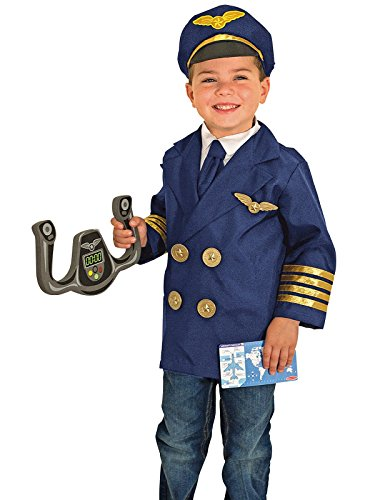 Melissa & Doug 8500 Pilot Role Play Costume Dress -Up Set With Realistic Accessories, Jacket, Tie, Hat, Wings, Steering Yoke, Checklist, Ages 3-6 (Airline Pilot Costume For Kids)