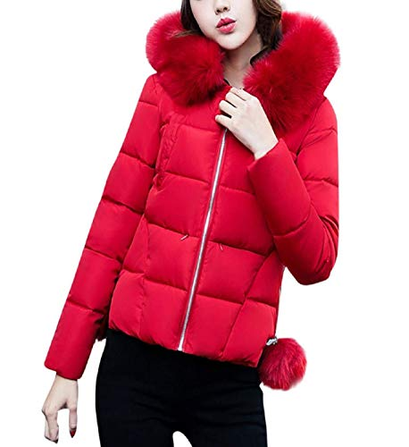with Mode Rot Warm Outdoor Coat Women's Winter Slim Leisure Quilted Jacket Down Color Coat Elegant Zip Hood Down Fit Fur Short Longsleeve Jacket Solid FEpwgYxwCq