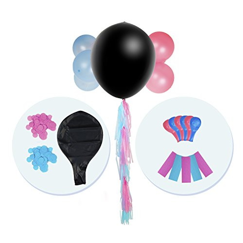 Party Girl Decorations All-in-One Gender Reveal Kit - Baby Shower & Gender Reveal Party Supplies - Baby Shower Kit with a Black Balloon, Blue & Pink Confetti, Blue & Pink - On In Glasses Scratches Fill