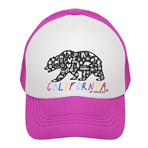 (JP DOoDLES California Rainbow Bear on Kids Trucker Hat. The Kids Baseball Cap is Available in Baby, Toddler, and Youth Sizes (HOT Pink, Youth (5-7 YRS)))