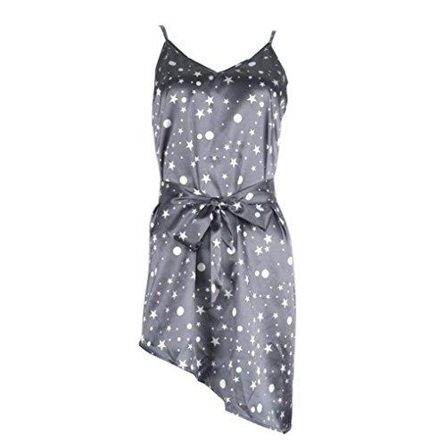 OverDose Womens sin mangas arnés vestido irregular vestido de moda de las señoras Gris oscuro