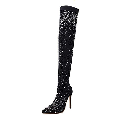 Black 8.5 US Black 8.5 US Women's Fashion Boots PU(Polyurethane) Fall & Winter Sweet Boots Stiletto Heel Pointed Toe Thigh-high Boots Rhinestone Black