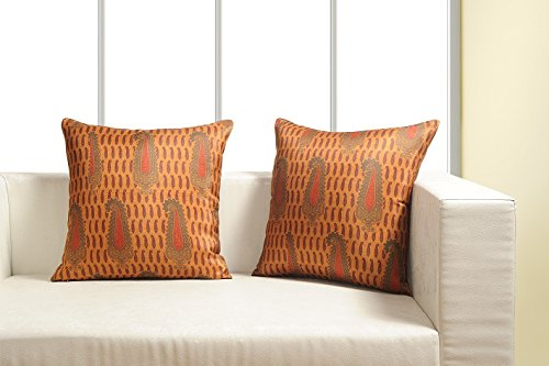 Digitally Printed Vibrant Color,Ethnic Theme Cushion Cover 18 x18 Inch Set of 2 ,Faux Silk