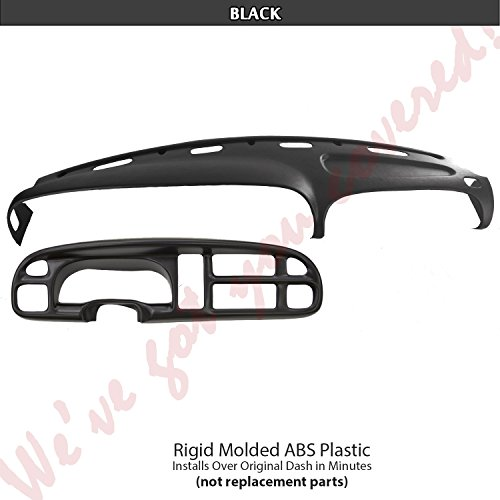 DashSkin Molded Dash & Bezel Cover Kit Compatible with 99-01 Dodge Ram in Black - Black Plastic Dash