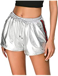 Women's Yoga Hot Shorts Shiny Metallic Pants with Elastic...