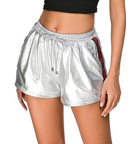 (Tandisk Women's Yoga Hot Shorts Shiny Metallic Pants with Elastic Drawstring (Y-Silver-Color Stripe, M))