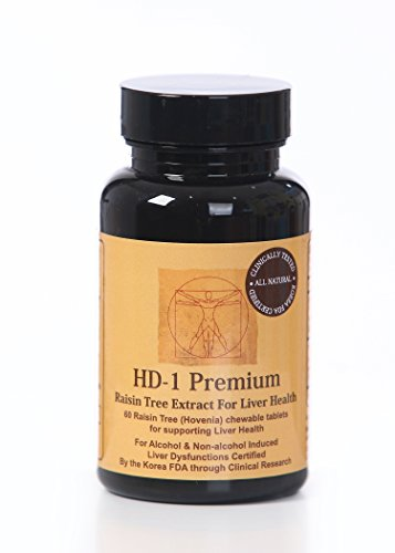 HD-1 Premium Raisin Tree Chewable Tablets, Natural Dihydromyricetin (DHM) from Hovenia Dulcis Extract, Scientifically Proven Hangover Prevention, 60-Count Bottle