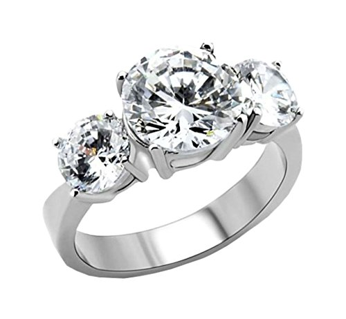 3 Stone Designer Ring - AA Jewelry 2.75 ct Round 3 Stone Engagement ring designer fashion Stainless Steel
