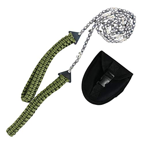 Pocket Chainsaw 36 Inch Long Chain Best Compact Folding Hand Saw Tool for Survival Gear, Camping, Hunting, Tree Cutting or Emergency Kit
