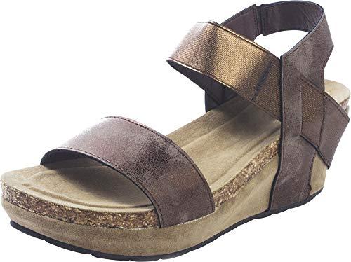 (Cambridge Select Women's Open Toe Stretch Strappy Chunky Cork Platform Wedge Sandal,9 B(M) US,Bronze)