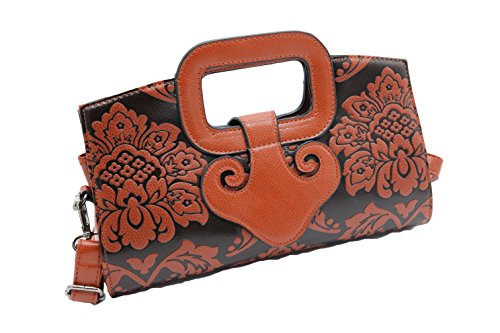 allx Designer Unique Embossed Flower Leather Ladies Top Handle Bag Handbag (Orange) (Embossed Orange Leather)