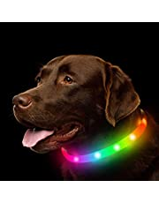 NOVKIN LED Dog Collar , Rechargeable RGB Color Changing Light Up Dog Collars, Waterproof Dog Lights Make Pet Visible and Safety for Night Walking,Outdoor, Camping, for Small Medium Large Dogs