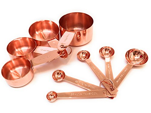 (Copper Measuring Cup and Spoon Stackable Set of 9 with Four Measuring Cups and Five Spoons with Engraved Measurements in US and)