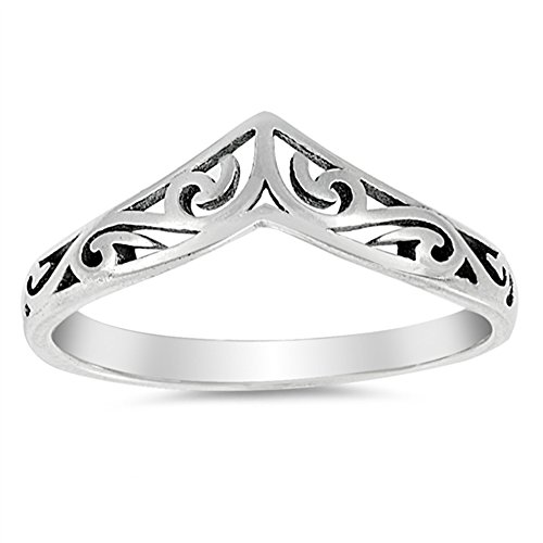 Filigree Celtic Chevron Thumb Ring 925 Sterling Silver Victorian Band Size 8