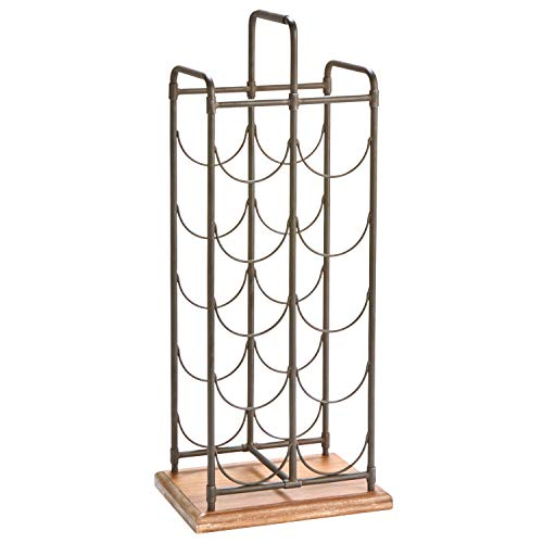 Stone & Beam Contemporary Farmhouse Standing Floor Wine Rack - 27 Inch, Iron and Wood (Standing Metal Wine Rack)
